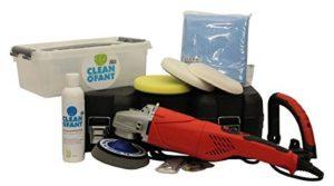 CLEANOFANT Universal-POLITUR Set mit Poliermaschine - für Wohnwagen, Wohnmobil, Caravan, Campingbus. Mit 200 ml Universal-POLITUR, 1 x Elektro-Poliermaschine, 1 x Polierteller, 1 x Lammfell-Polierpad, 2 x Polierschwamm, 1 x Poliertuch. U.a. für Lack, GFK, Gelcoat, Folie, Chrom, Edelstahl, Aluminium, Glas, Keramik, Kunststoff, Acryl, Polycarbonat, Plexiglas, Carbon, Holz, alle mit Folie beschichteten oder lackierten Oberflächen. Kratzer entfernen / polieren. rotations poliermaschine test